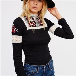 Free People Cozy Up on Lace Embroidered Top Shirt